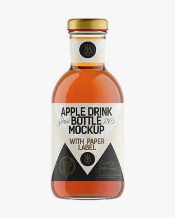 Clear Glass Apple Drink Bottle with Paper Label Mockup