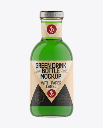 Clear Glass Green Drink Bottle with Paper Label Mockup