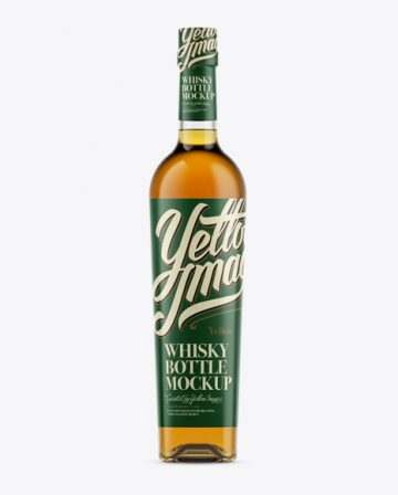 Glass Bottle for Whiskey Mockup - Front View