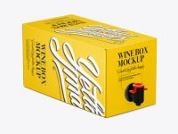 White Paper Wine Box with a Tap Mockup - 25° Angle Front View (High-Angle Shot)