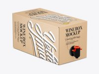 Kraft Paper Wine Box with a Tap Mockup - 25° Angle Front View (High-Angle Shot)