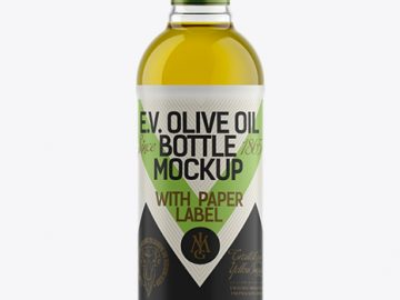 500ml Flint Glass Olive Oil Bottle Mockup