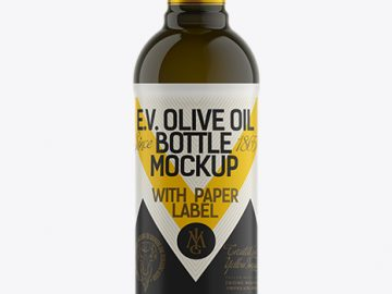 500ml Antique Green Olive Oil Bottle Mockup