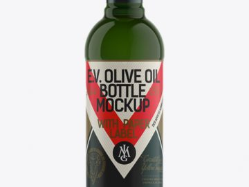 500ml Green Glass Olive Oil Bottle Mockup