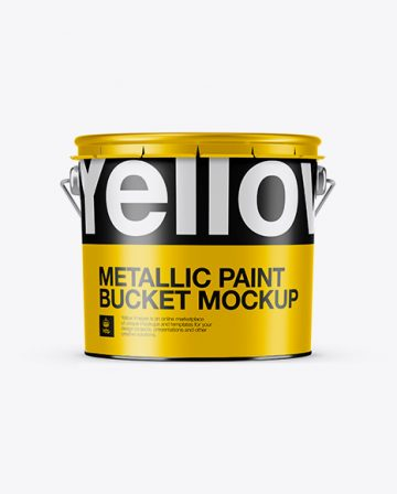 3L Metallic Paint Bucket Mockup - Front View (Eye Level Shot)