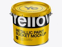 3L Metallic Paint Bucket Mockup - Front View (High-Angle Shot)