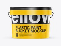 3L Plastic Paint Bucket Mockup - Front View (Eye Level Shot)
