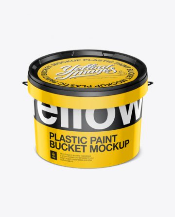 3L Plastic Paint Bucket Mockup - Front view (High-Angle Shot)