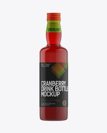 350ml Cranberry Drink Bottle with a Screw Cap Mockup