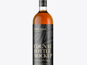 Glass Bottle W/ Cognac Mockup - Front View