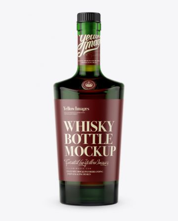 Green Glass Bottle W/ Whiskey Mockup - Front View