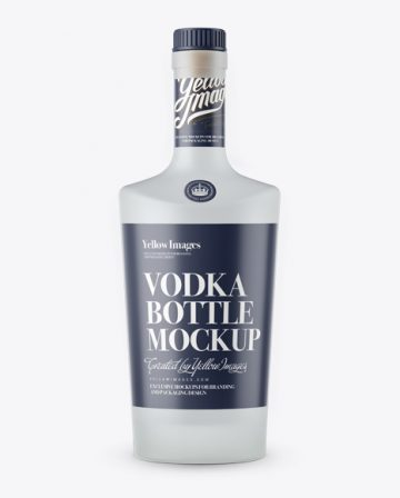 Frosted Glass Vodka Bottle W/Bung Mockup - Front View