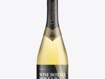 Champagne Bottle HQ Mockup - Front View