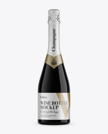 Dark Glass Champagne Bottle Mockup - Front View