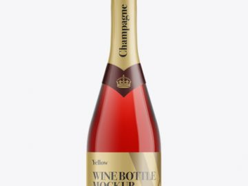 Red Champagne Bottle HQ Mockup - Front View