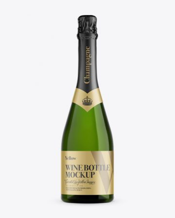 Green Glass Champagne Bottle Mockup - Front View