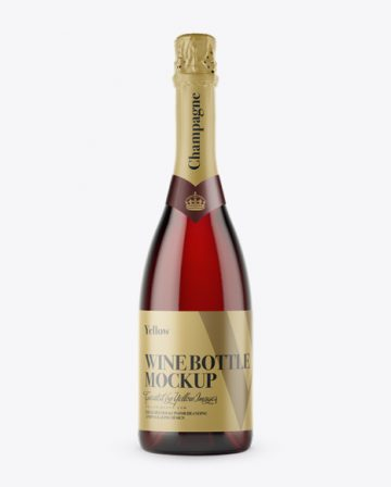 Dark Red Champagne Bottle HQ Mockup - Front View