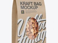 Kraft Stand-Up Pouch W/ Nuts Mockup - Half-Side View
