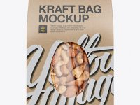 Kraft Stand-Up Pouch W/ Nuts Mockup - Front View