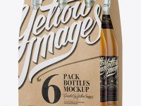 Kraft Paper 6 Pack Beer Bottle Carrier Mockup - 3/4 View
