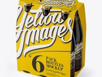 White Paper 6 Pack Amber Bottle Carrier Mockup - 3/4 View (High-Angle Shot)