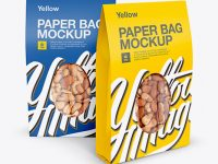 Two Paper Stand-Up Pouches W/ Nuts Mockup - Front View