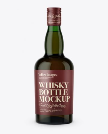 Green Glass Whiskey Bottle Mockup - Front View