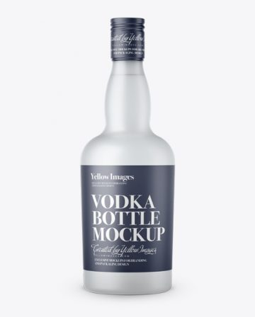Frosted Glass Vodka Bottle Mockup - Front View