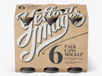 Kraft Paper 6 Pack Cans Carrier Mockup - Front View (High-Angle Shot)