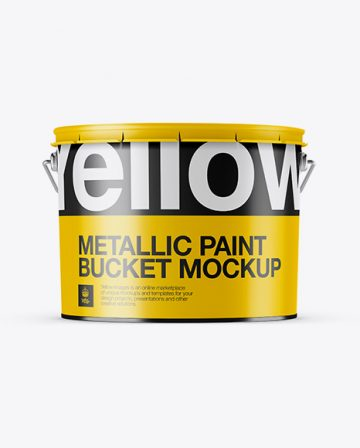 Metallic Paint Bucket Mockup - Eye-Level Shot