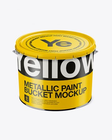 Metallic Paint Bucket Mockup - High-Angle Shot