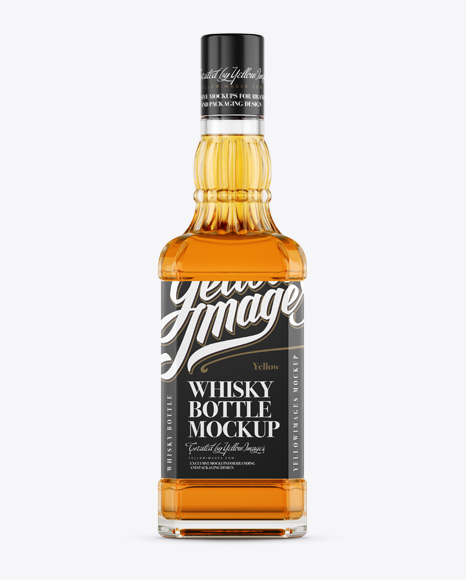 Glass Bottle W/ Whiskey Mockup - Front View
