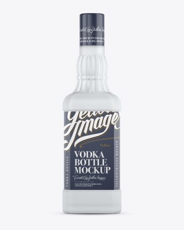 Frosted Glass Gin Bottle Mockup - Front View