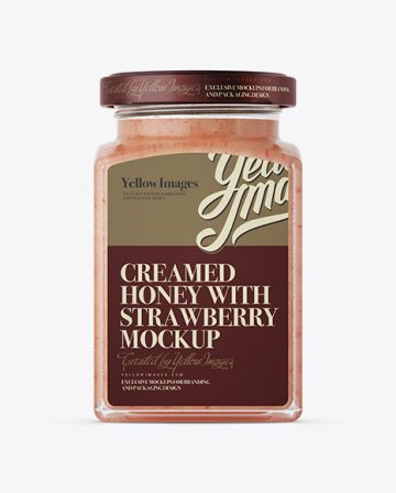 Creamed Honey w/ Strawberry Glass Jar Mockup