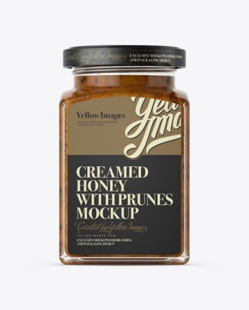 Creamed Honey w/ Prunes Glass Jar Mockup