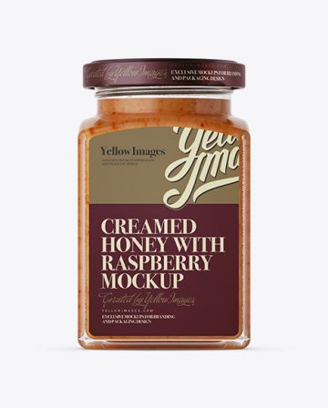 Creamed Honey w/ Raspberry Glass Jar Mockup