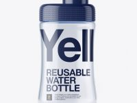 Transparent Reusable Water Bottle w/ Glossy Cap Mockup