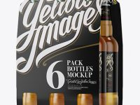 White Paper 6 Pack Beer Bottle Carrier Mockup - Halfside View
