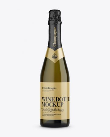 Antique Green Champagne Bottle Mockup - Front View