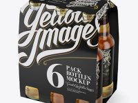 White Paper 6 Pack Beer Bottle Carrier Mockup - Halfside View (High-Angle Shot)