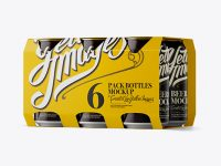 White Paper 6 Pack 0.33L Cans Carrier Mockup - Halfside View