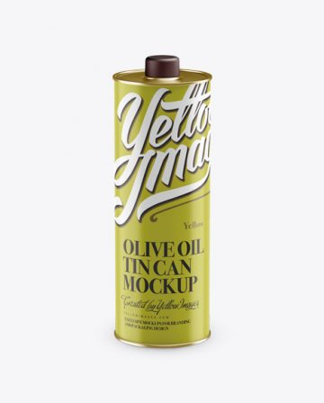 Olive Oil Tin Can w/ Cap Mockup