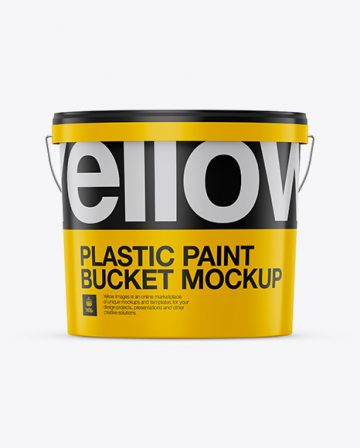 Plastic Paint Bucket Mockup - Front View