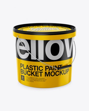 Plastic Paint Bucket Mockup - Halfside View