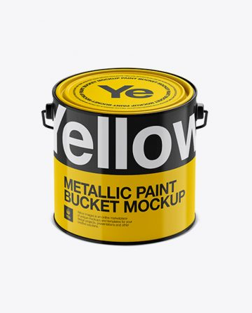 3L Glossy Metallic Paint Bucket Mockup - Front View (High-Angle Shot)