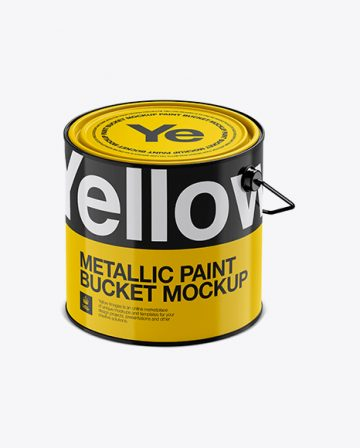 3L Glossy Metallic Paint Bucket Mockup - Halfside View (High-Angle Shot)