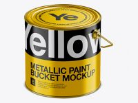 3L Metallic Paint Bucket Mockup - Halfside View (High-Angle Shot)