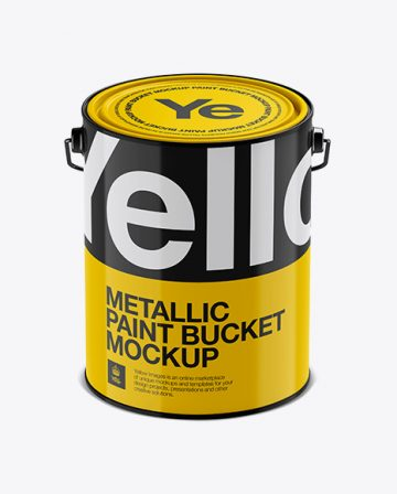 5L Glossy Metallic Paint Bucket Mockup - Front View (High-Angle Shot)
