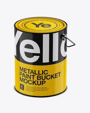 5L Glossy Metallic Paint Bucket Mockup - Halfside View (High-Angle Shot)