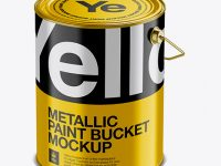 5L Metallic Paint Bucket Mockup - Halfside View (High-Angle Shot)